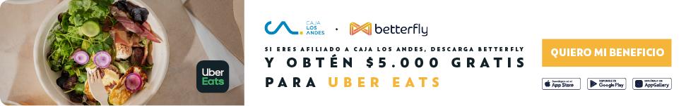 Si eres afiliado a Caja Los Andes, descarga Betterfly y obtén $5.000 gratis para Uber Eats